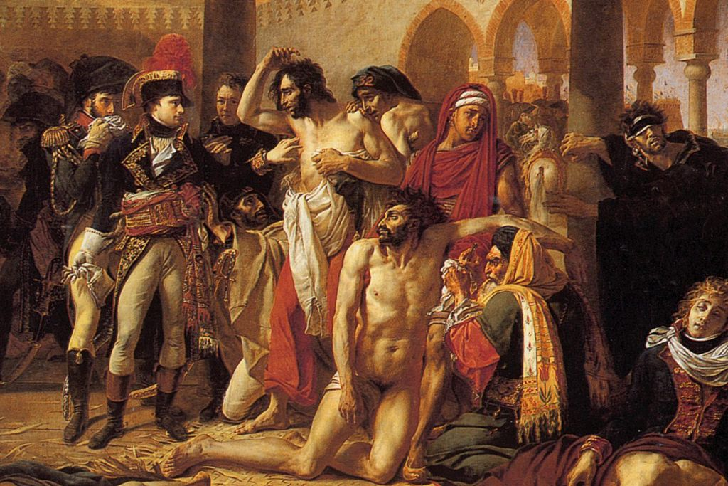 Pictura de Antoine-Jean Gros, Bonaparte vizitând ciumaţii din Jaffa. Sursă Wikipedia.