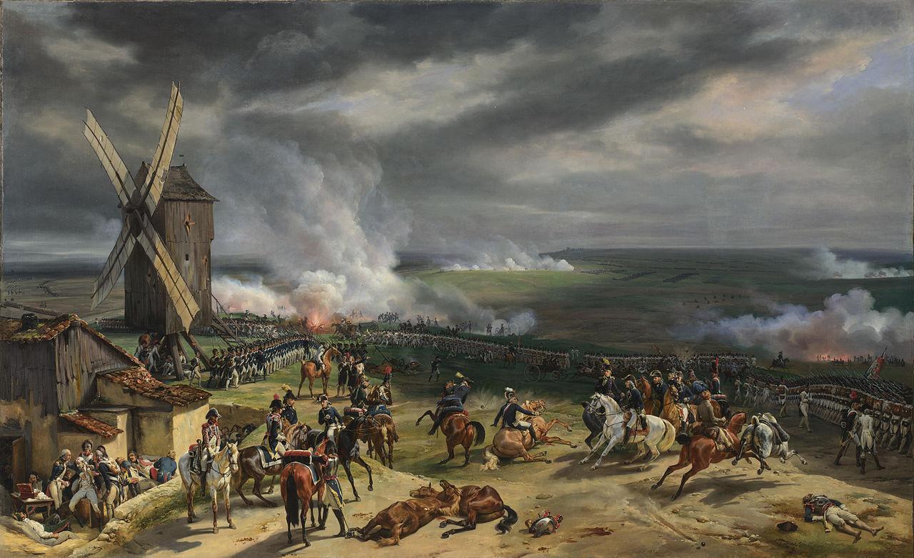 Bătălia de la Valmy câştigată de generalul Kellermann îpotriva trupelor prusace conduse de Brunswick în 1792. Pictură de Horace Vernet, 1826, sursă Wikipedia.