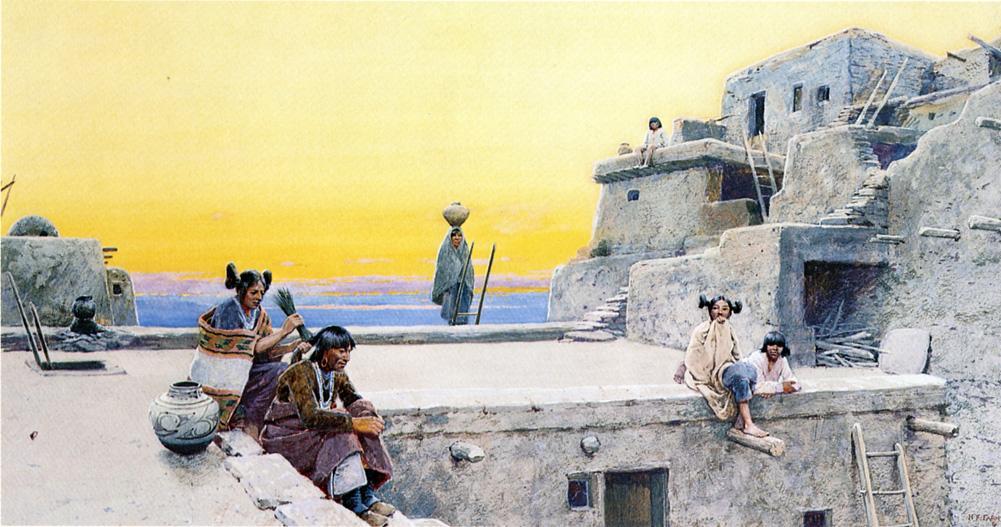 Oamenii Hopi şi arhitectură, pictură de Henry Farney, înainte de 1916, sursă Wikipedia.